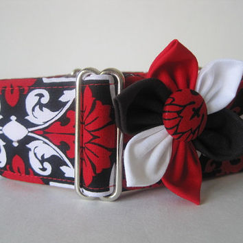 Red Martingale Collar and Collar Flower, Greyhound Martingale Collar, Red Black and White Dog Collar, Sighthound Collar, Red Dog Collar