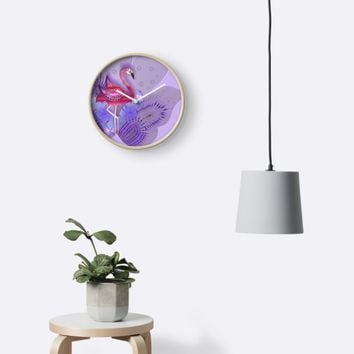 'PINK AND VIOLET FLAMINGO 179.' Clock by sana90