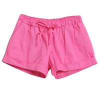Elastic waist Pure Color Shorts