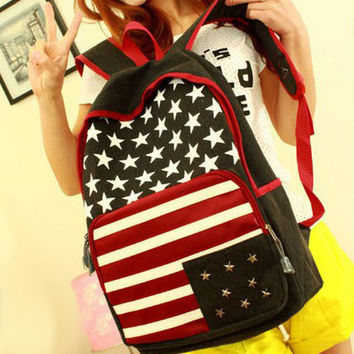 New American Flag Rivet Canvas Backpack