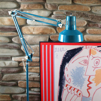 80s FAB FLOOR LAMP VintageTeal Fun Lamp Retro Articulating Arm Work Desk Office Reading Task Pixar Drawing Pop Art Mod Industrial Lighting