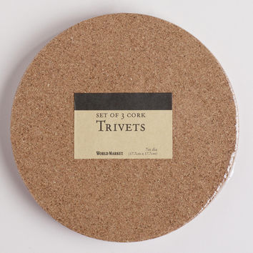 Round Cork Trivet, Set of 3 - World Market