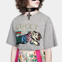 GUCCI New fashion bust letter print embroidery sequin tiger couple top t-shirt Gray