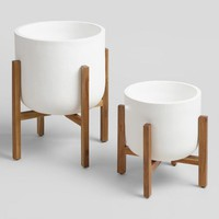 White Ceramic Sevilla Outdoor Planter Collection