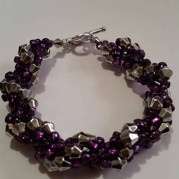 Punk Rock Purple and Silver Bracelet. Rockabilly Style! Excellent for a Mother's Day, Birthday or Anniversary Present or Gift