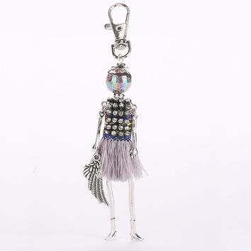 Women cute rhinestone doll keychain tassel multicolor