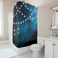 Dark blue moon light strings and mason jars candle shower curtain
