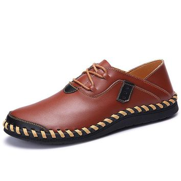 Men Genuine Leather Shoes Lace-Up Real Leather Loafers Handmade Men's Moccasins Shoes Italian Designer Shoes