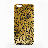 Transparent iPhone 6 Case Gold Rose Print Cover iPhone 6S Black Rose Soft Touch Hard Case iPhone 5 Clear Case iPhone 5S Rubber Case Clear