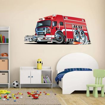 cik1543 Full Color Wall decal cool fire truck bedroom children's room