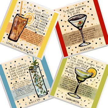Drink Coasters, beverage coasters, housewarming gift, Drink recipes, trivet, margarita, long island ice tea, martini, mojito, bar decor