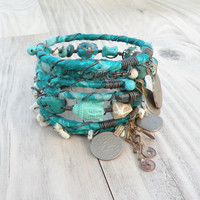 Silk Road Gypsy Bangles, 8 Stack, Turquoise, Bohemian Tribal Bracelets, Silk Wrapped and Beaded