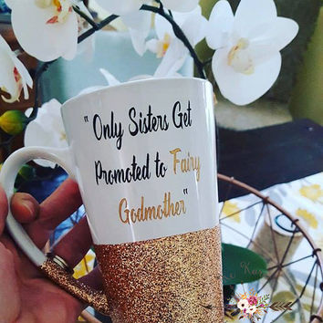 Fairy Godmother gift,Engraved mug,Baptism gift,Christening gift,Inspirational engraved mug,Sisters mug,Fairy Godmother mug,Glitter dipped