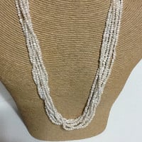 South African seed pearl 6 strand necklace, sterling silver clasp