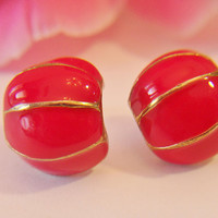 Vintage Red Half Hoop Earrings Retro Enamel Shell Shrimp Jewelry Fashion Accessories For Her