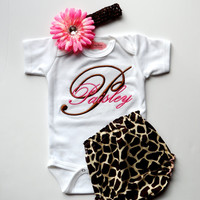Personalized Baby Girl Clothes Newborn Girl Take Home Outfit Monogram Baby Girl Outfit One-Piece Giraffe Diaper Cover Headband Baby Gift Set