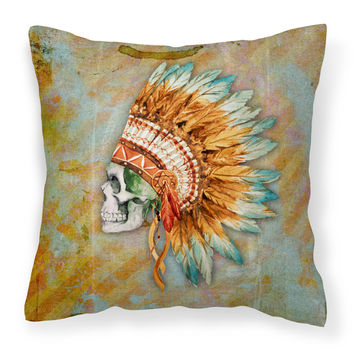 Day of the Dead Indian Skull  Fabric Decorative Pillow BB5127PW1414