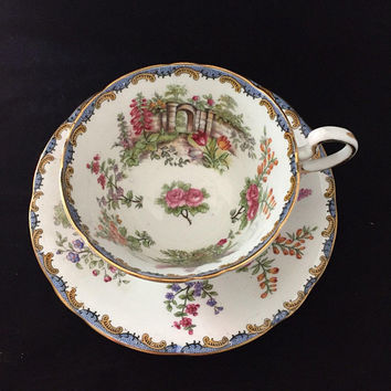 Vintage Aynsley Teacup Garden Gate, Aynsley England Bone China, Gold Trim Floral Teacup, Vintage Teacup
