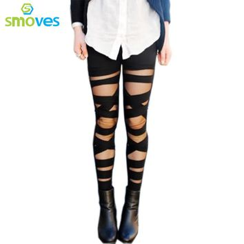 Colysmo Women's Cut-out Bandage Lace Leggings Pant Autumn Spring Summer Mesh Insert Cross Pants New Black Legging