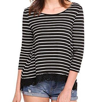 Mofavor Womens Scoop Neck 34 Sleeve Stripped Lace Trim Tunic Tops