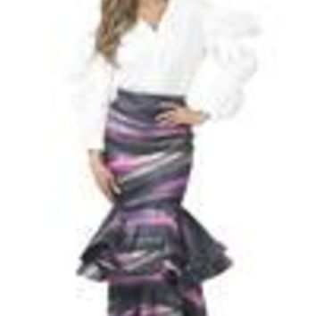 TIERED RUFFLE PRINT MAXI SKIRT