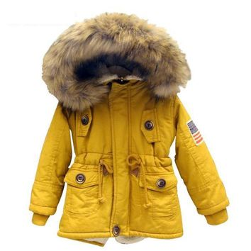 High Quality Thick Hooded Warm Winter Jacket USA Flag For Kids in 3 Colors 2-8T