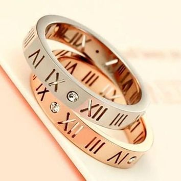 Popular Women Men Casual Lovers Ring Diamond Ring Lettering Roman Numerals Rings