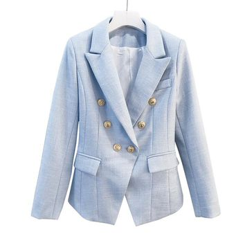 HIGH QUALITY 2017 Elegant Women's Double Breasted Metal Lion Buttons Solid Color Slim Jacket Formal Outerwear Runway Blazer Coat