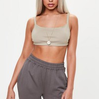 Missguided - Nude Strappy Back Bralette