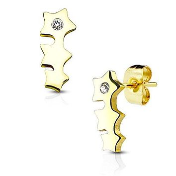 Pair of Triple Star with Crystal 316L Stainless Steel WildKlass Earring Studs