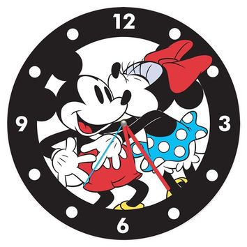 Mickey and Minnie Mouse Large Cordless Wood Wall Clock