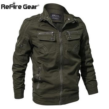 Trendy ReFire Gear Men Military Army Jacket Spring Air Force Pilot Cargo Tactical Jacket Man Casual Autumn Cotton Bomber Jackets Coat AT_94_13