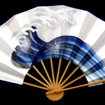Japanese Dance Fan Mai Ogi Wave Blue And White Hand Painted  (F9)