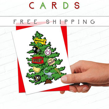 Pittsburgh Christmas Card, Hand Drawn Christmas Tree Card Set, Penguins Christmas, Pittsburgh Holiday Cards, Heinz, Illustrated Holiday Card