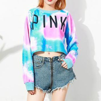 PINK Gradient Color Coconut Tree Print Top Shirt
