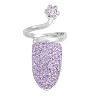 Violet on Silver Pave Nail Ring *Limited Quantities*