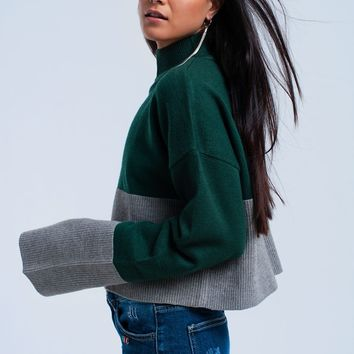Green and gray sweater