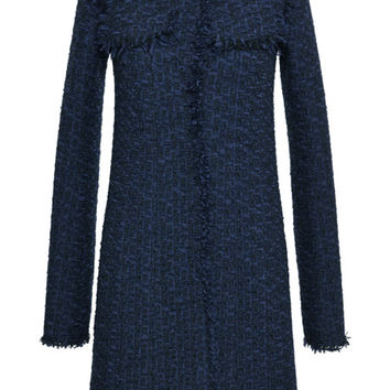 Black And Navy Tweed Coat by Nina Ricci - Moda Operandi