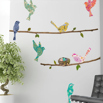 Paisley Birds and Branches Wall Decals