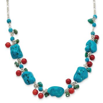 925 Sterling Silver Dyed Howlite, Turquoise, Red Coral Necklace 16 Inch