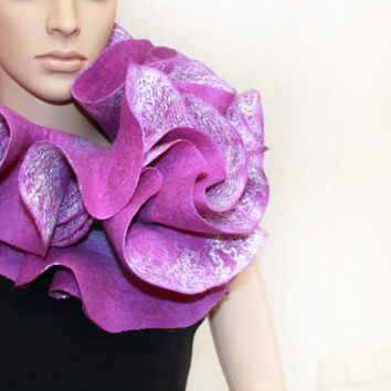 Long ruffle handmade felted scarf Jabot Neck warmer Plum Purple Violet Lilac Ready to ship