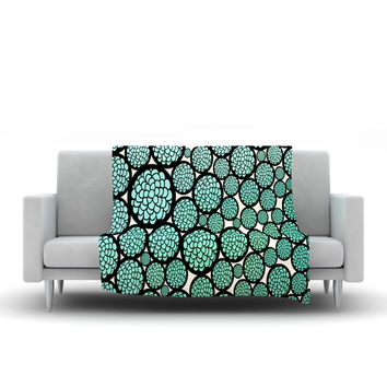 """Pom Graphic Design """"Blooming Trees"""" Turquoise Circles Fleece Throw Blanket"""