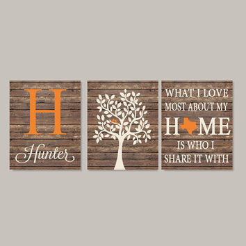 Family Tree Wall Art  What I Love Most About My Home Personalized Christmas Gift Bedroom Wall Decor Love Bird Tree Set of 3 Prints Or Canvas