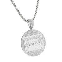 """White Gold Finish Last Supper Pendant Iced Out Simulated Diamonds Stainless Steel 24"""""""
