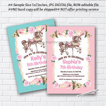 Carousel invitation, Merry go round birthday , pony vintage design for girl 1st 2nd 3rd 4th 5th 6th 7th 8th 9th 10th  circus - card 848
