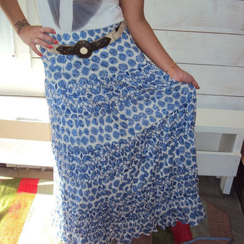 ON SALE Vintage Bandana Print Maxi Skirt  S M L by wayfarervintage