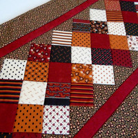 Quilted Table Runner in Fall Halloween Colors, Quilted Table Topper,