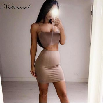 NATTEMAID 2017 Summer Casual Two piece Set Outfits Strappy Sexy Satin Crop Top Bralette and Skirt Women's Sets Summer Female