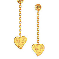 Valentino - L'Amour Engraved Heart Drop Earrings - Saks Fifth Avenue Mobile