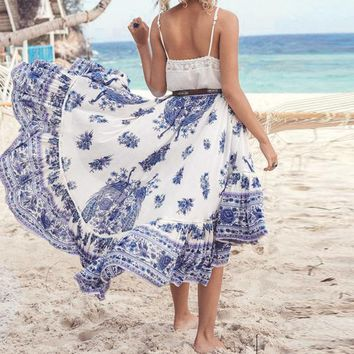2017 Summer Skirts Womens Ladies Boho Tribal Floral Printed Skirt Chiffon Long Asymmetric Pleated Casual Beach Wear Maxi Skirt